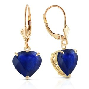 LEVER BACK EARRINGS NATURAL 10mm HEART SAPPHIRES